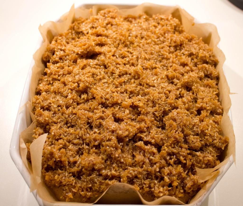 Drømmekage fra Brovst er en klassiker kage med kokos og farin skolekage