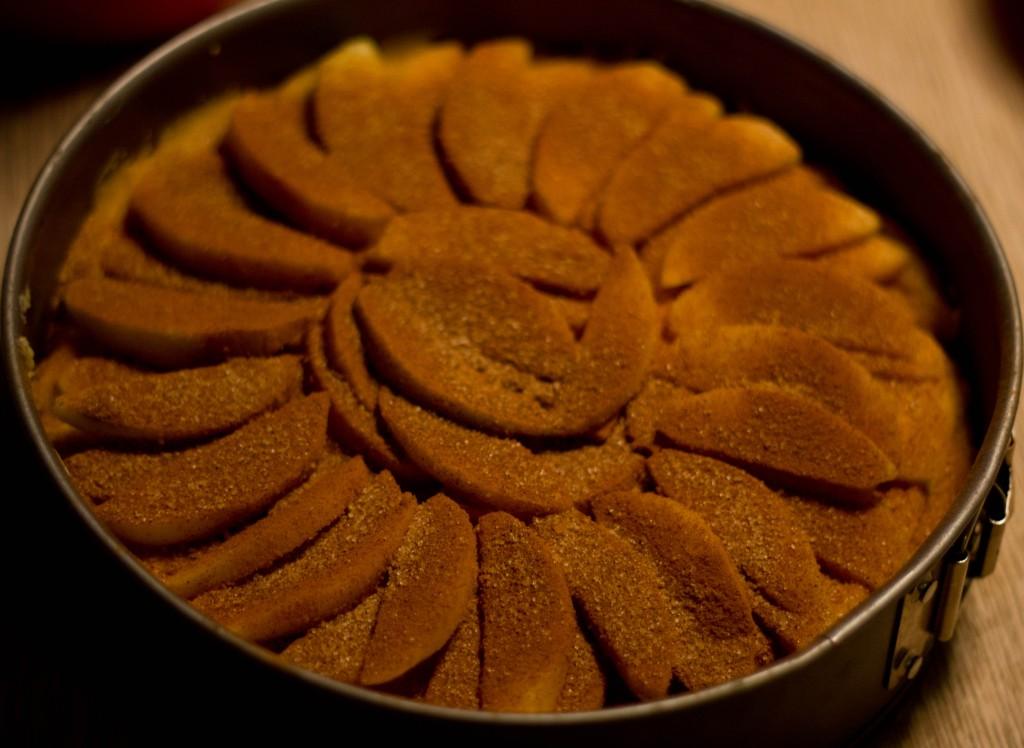 Æblekage en gammeldagsæblekage gammeldags der smager af æbler med pund til pund