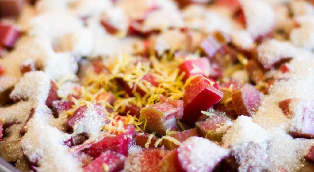 Rabarbertærte med crumble og friske rabarber fra haven i en tærte